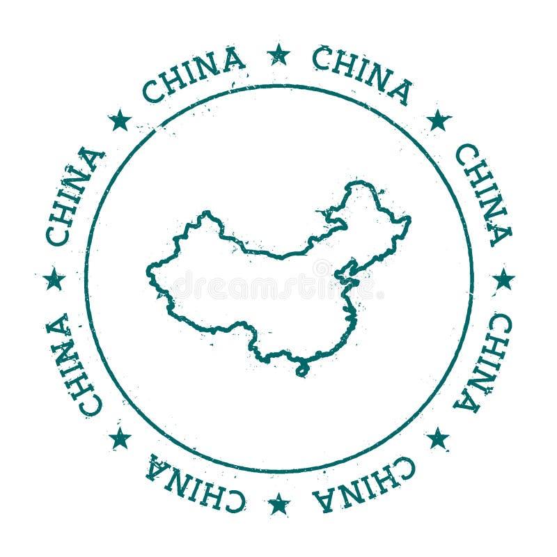 Kina vektoröversikt stock illustrationer