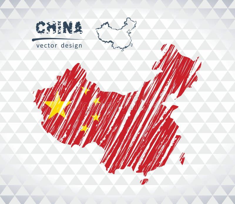 Kina vektoröversikt med flaggainsidan som isoleras på en vit bakgrund Skissa drog illustrationen för krita handen stock illustrationer