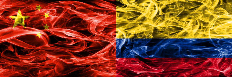 Kina vs Colombia rök sjunker den förlade sidan - förbi - sidan royaltyfri illustrationer