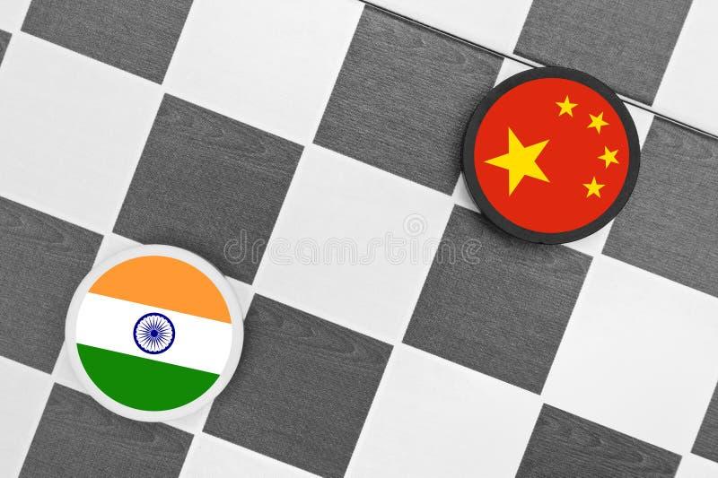 Kina vs Indien arkivfoto