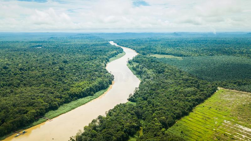 Aerial photography of Kinabatangan River in Borneo. Aerial photography over the kinabatangan river and wildlife sanctuary in Borneo, Malaysia. river and palm oil stock photos