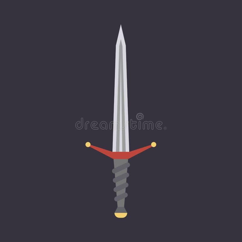Kindżału kordzika broni wektoru ilustracyjna ikona Ostrze projekta sztuki wojownika nożowy symbol Fantazji mieszkania bitwy średn ilustracja wektor