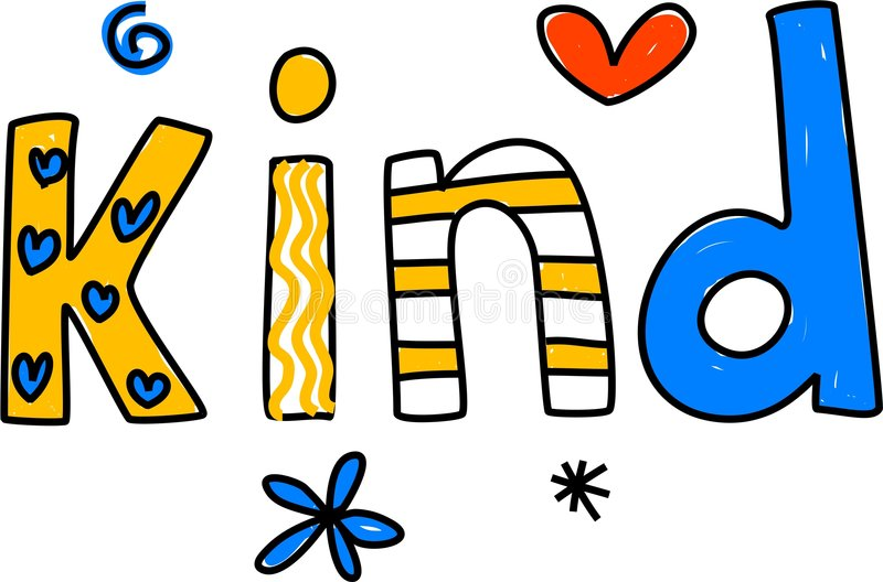 Kind. Whimsical drawing of the word KIND isolated on white vector illustration
