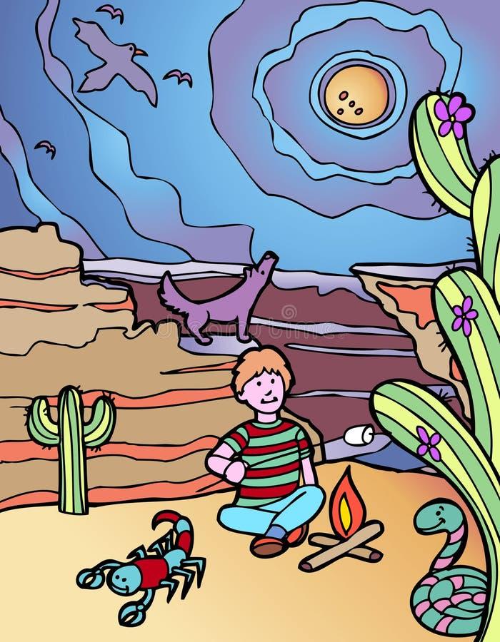 Kind-Abenteuer: WüsteCampground lizenzfreie abbildung