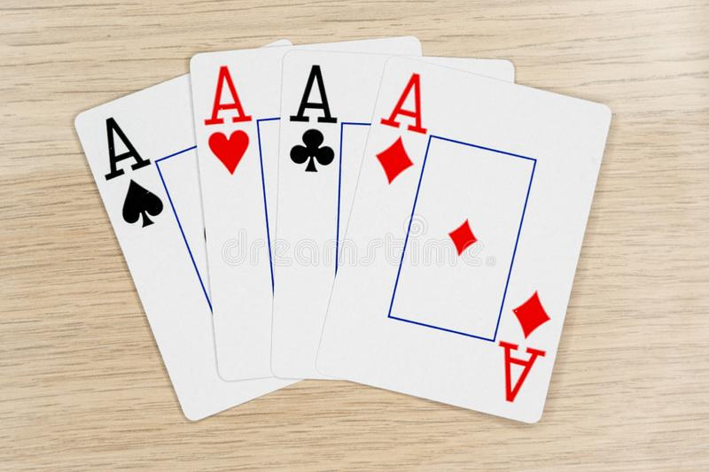 4 of a kind aces - casino playing poker cards royalty free stock photos