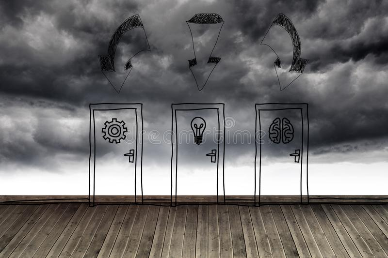 Three doors at wall with stormy sky stock illustration