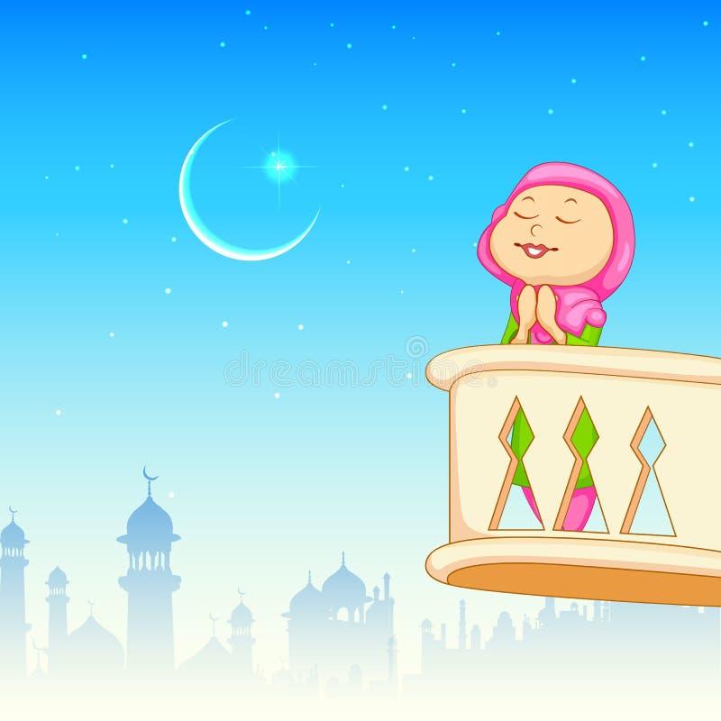 Kind-Angebotnamaaz für Eid-Feier vektor abbildung