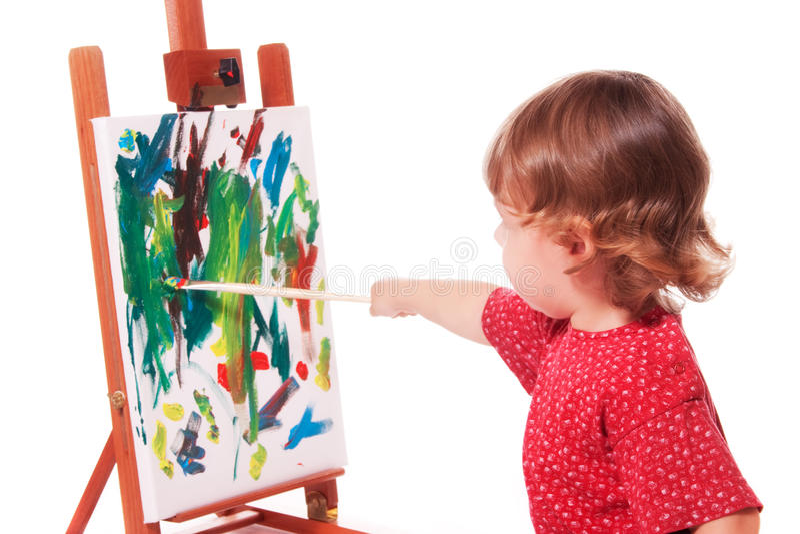Kind-Anstrich auf Gestell stockfoto