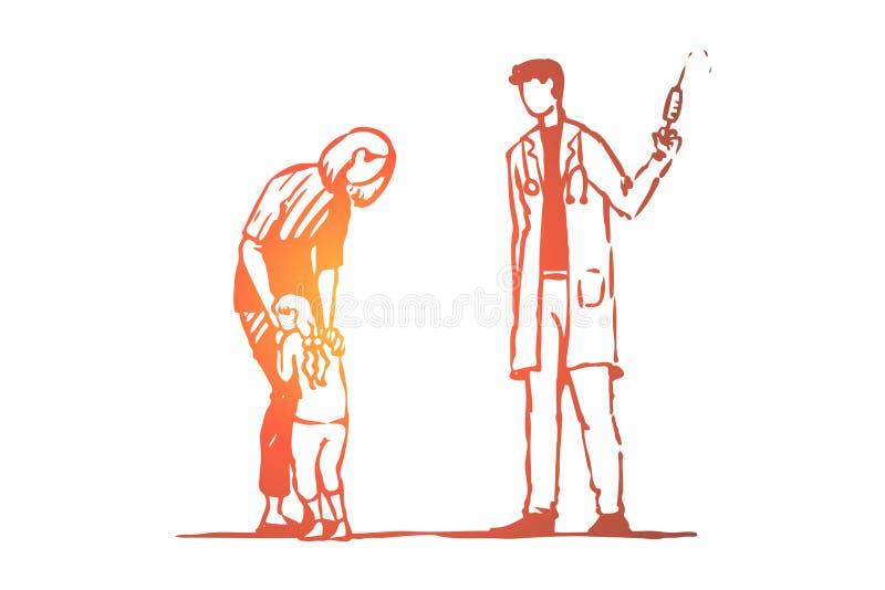 Kind, arts, injectie, vrees, spuitconcept Hand getrokken geïsoleerde vector royalty-vrije illustratie