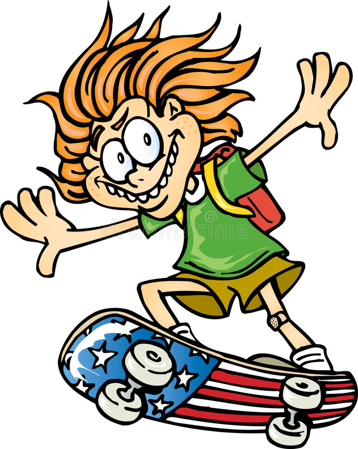 Kind auf Skateboard stock abbildung