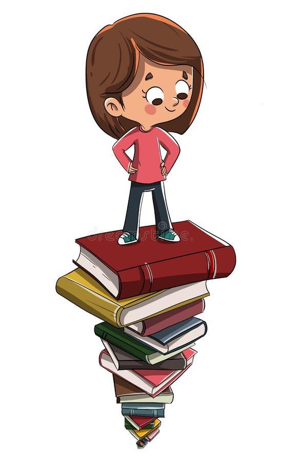 Kind auf Stapel von Büchern lizenzfreie abbildung