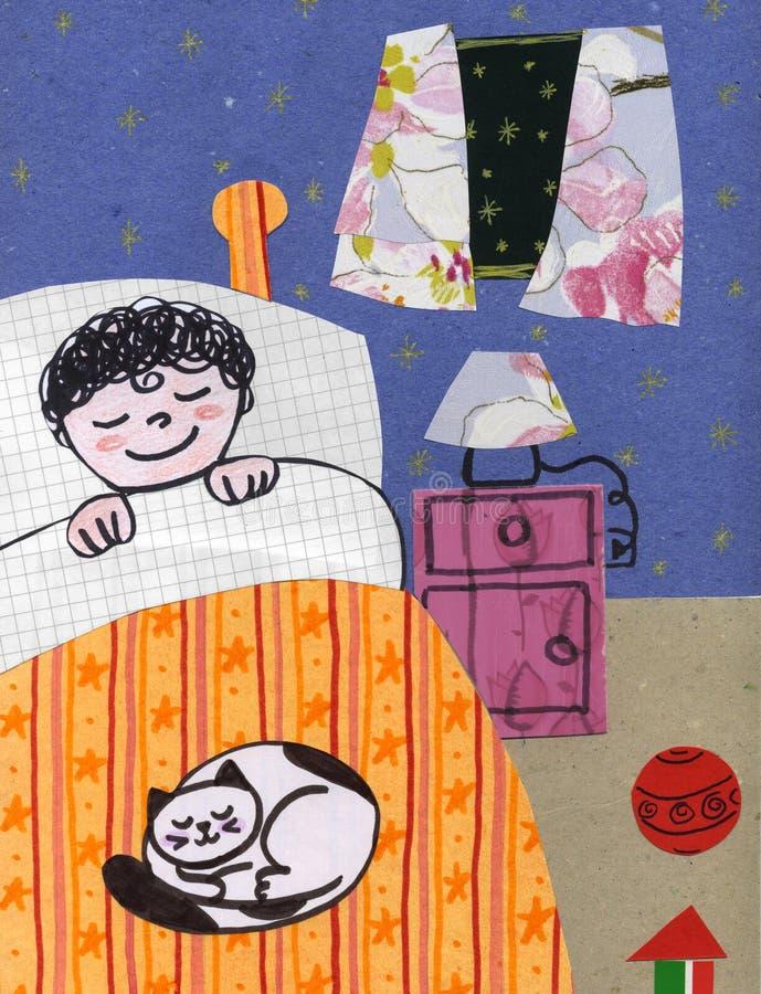 Kind bij bed - collage vector illustratie