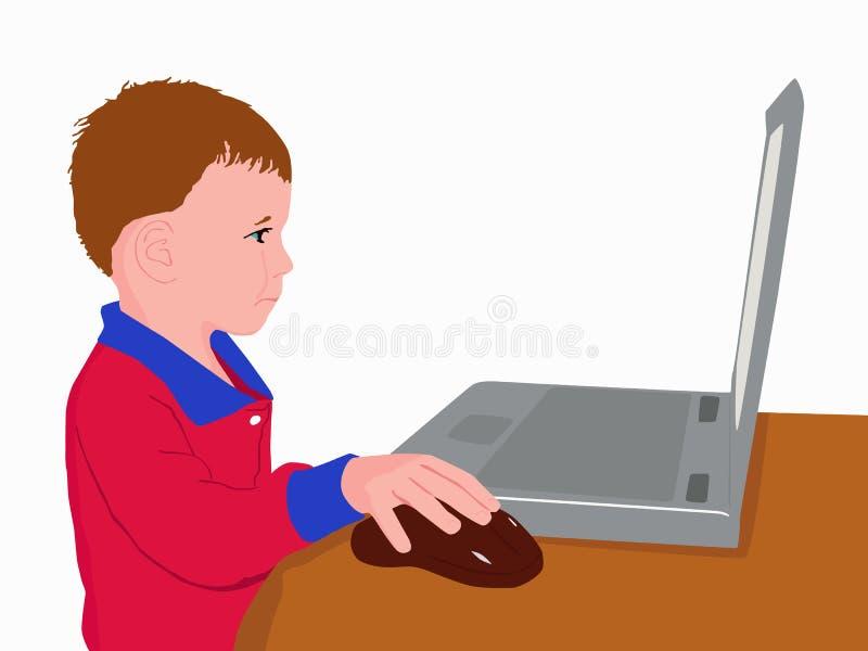 Kind bij de computer stock illustratie