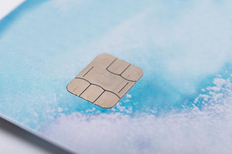 Kind of chip on a bank card, close-up royalty free stock photography