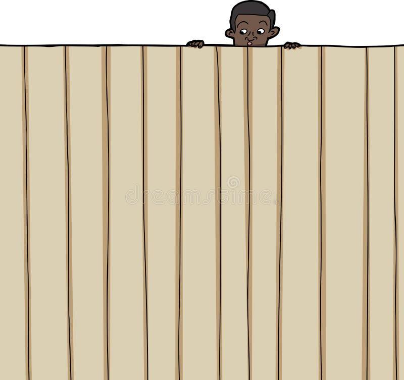 Kind, das über Zaun schaut lizenzfreie abbildung