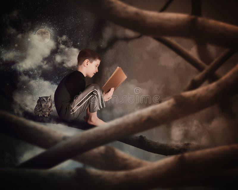 Kind, das altes Geschichten-Buch auf Baumast liest stockfoto
