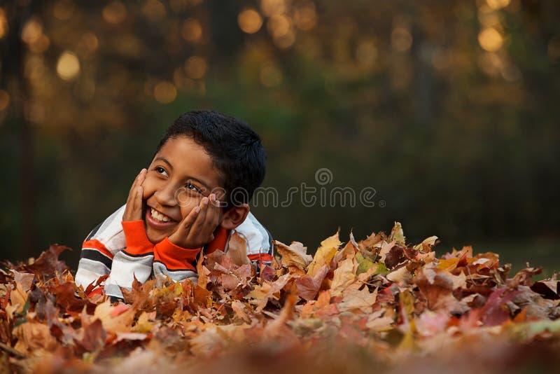 Kind, das auf Herbst-Blätter legt stockfotos