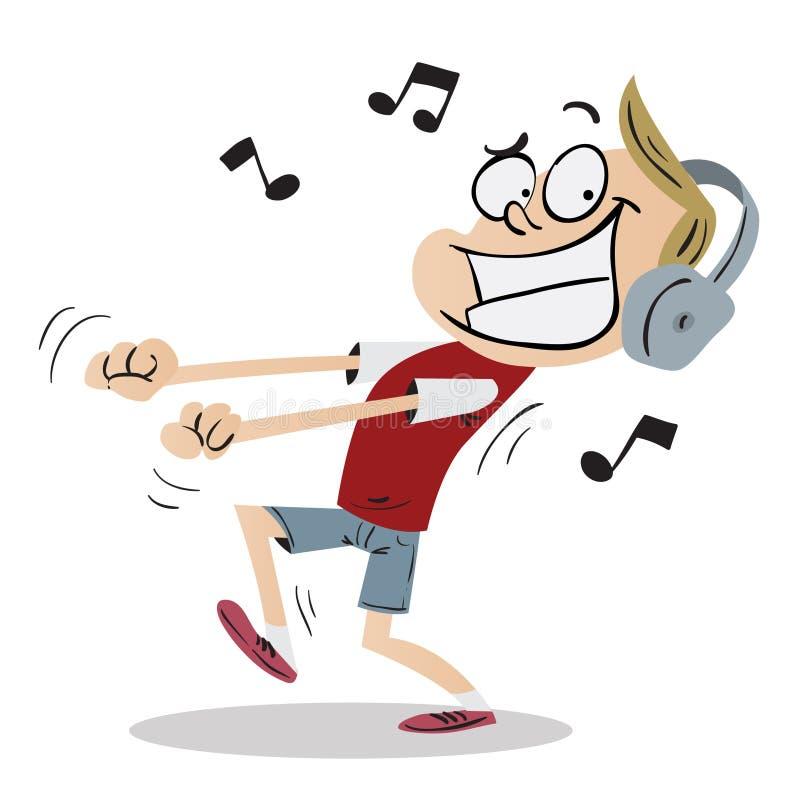 Kind, das auf Musik und das Tanzen hört stock abbildung