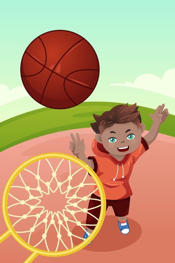 Kind, das Basketball spielt stock abbildung