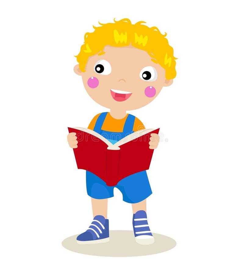 Kind, das ein Buch liest stock abbildung