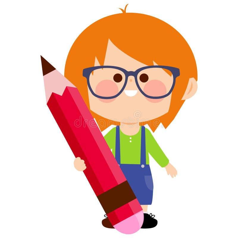 Kind, das ein großes Rot, Bleistift hält lizenzfreie abbildung