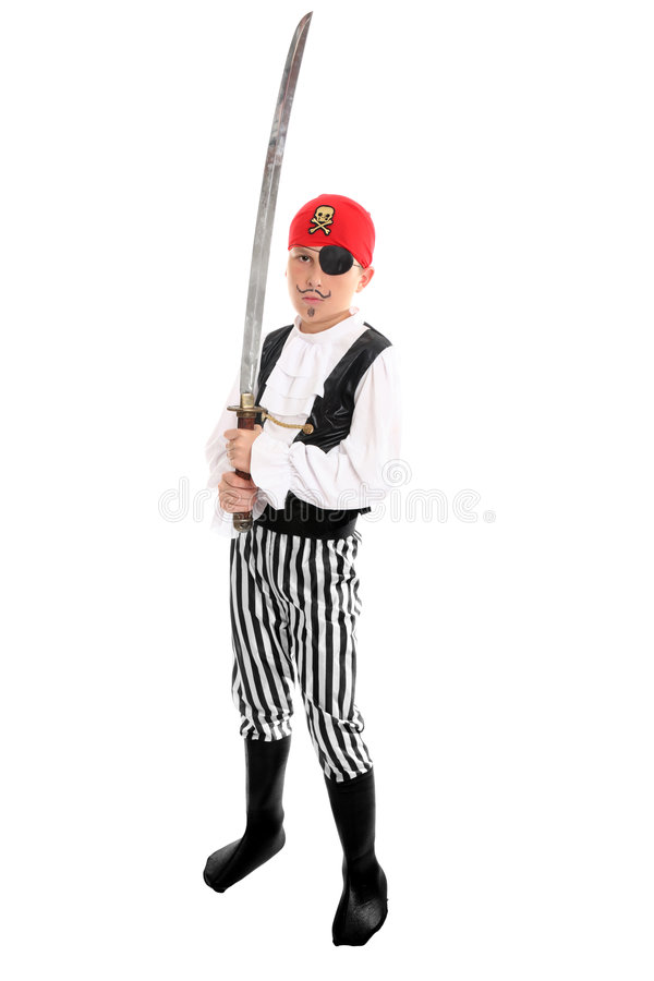 Kind, das ein Piratenkostüm trägt stockbild