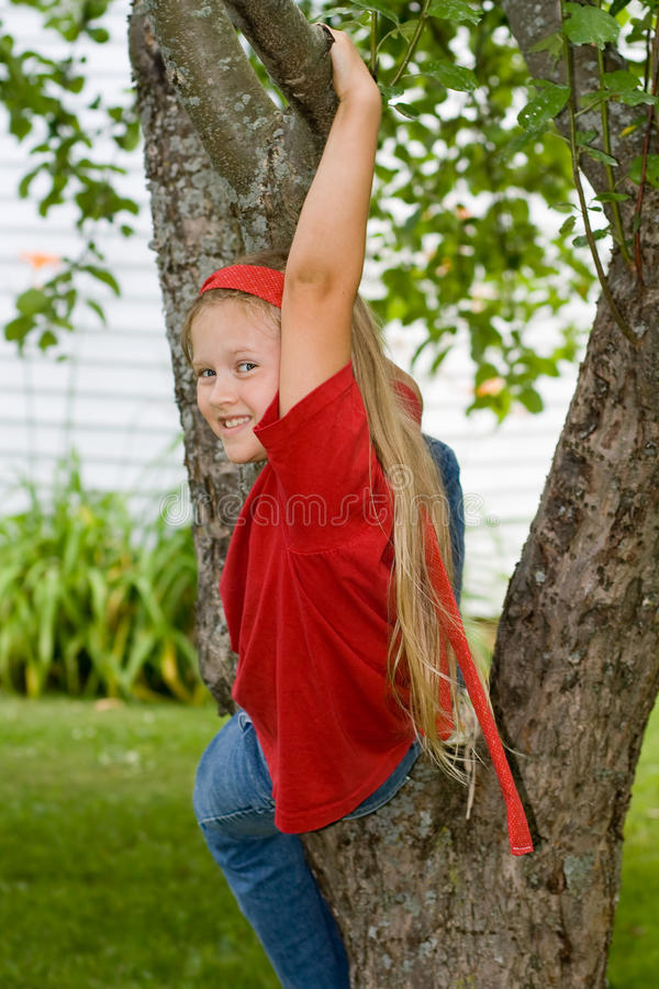 Kind, das einen Baum steigt. lizenzfreie stockfotografie