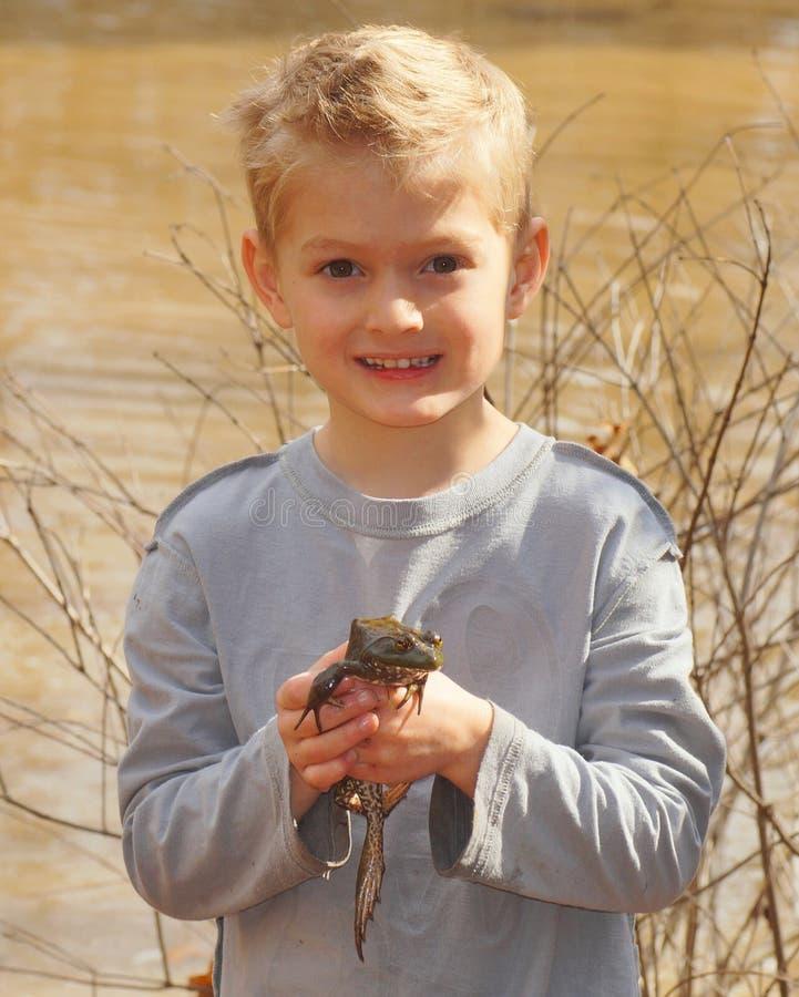 Kind, das einen großen Ochsenfrosch hält lizenzfreie stockfotos