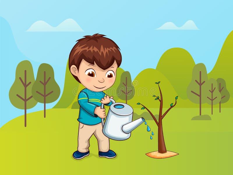 Kind, das für Natur, Junge mit Gießkanne sich interessiert lizenzfreie abbildung
