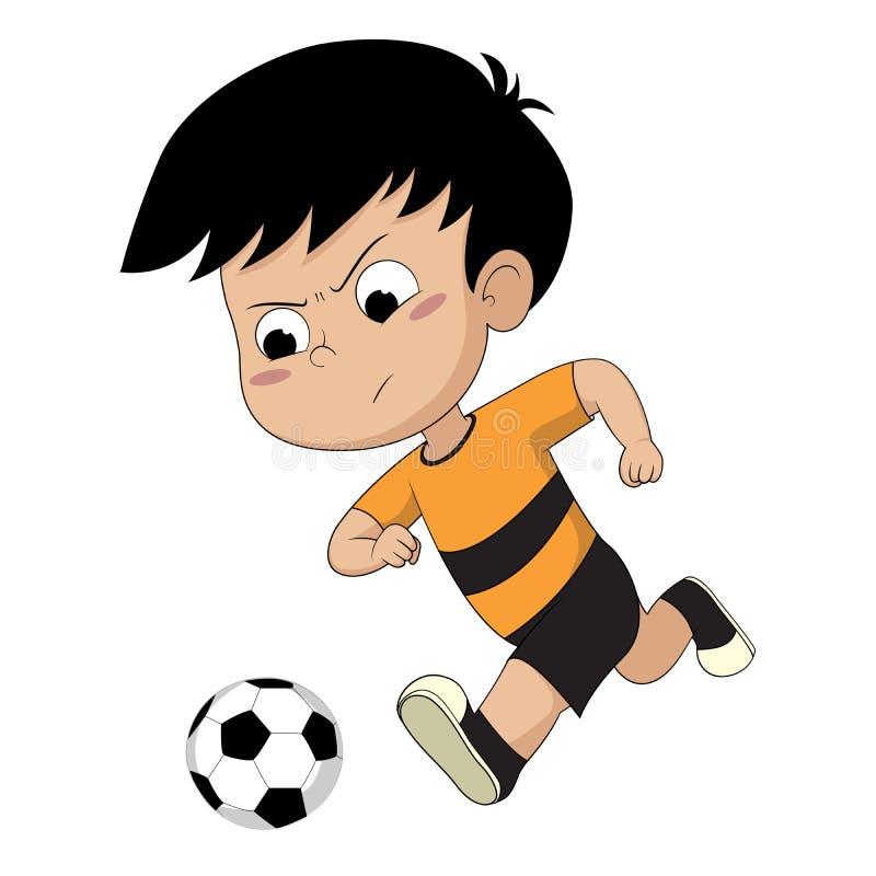 Kind, das Fußball spielt stock abbildung