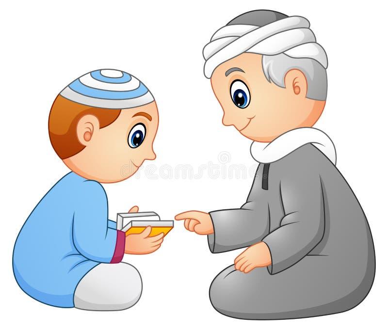 Kind, das gelesenen Quran zu seinem Vater lokalisiert auf weißem Hintergrund lernt lizenzfreie abbildung