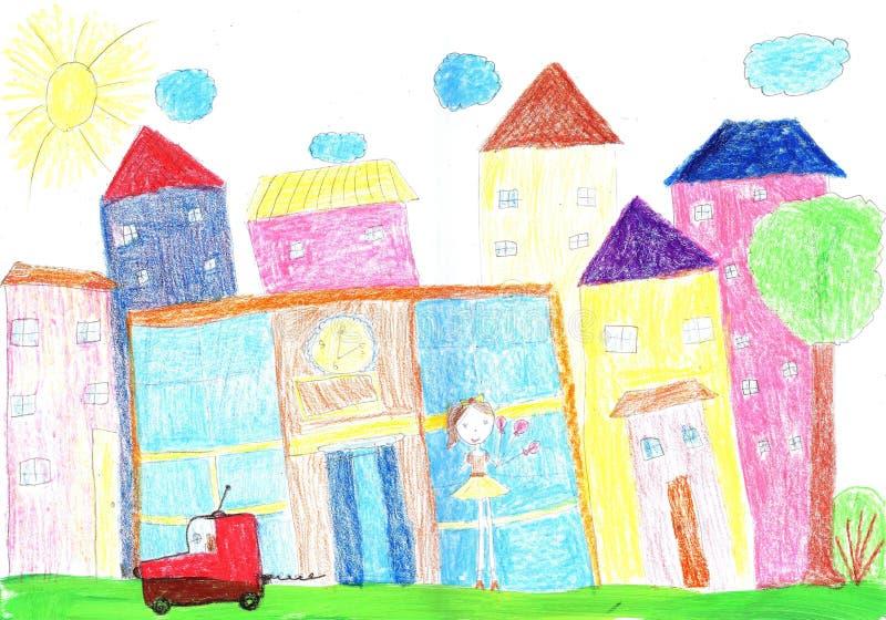 Kind, das glückliche Familie, Gebäude, Auto zeichnet stockfotos