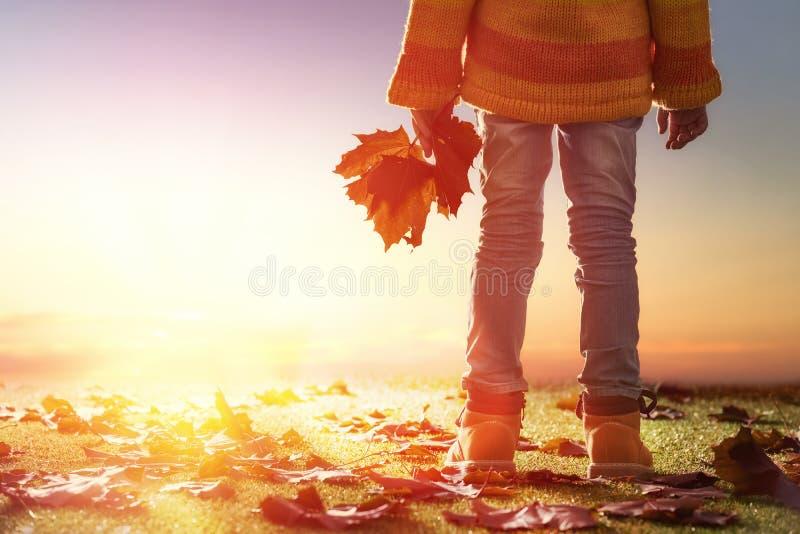 Kind, das im Herbst spielt stockbild