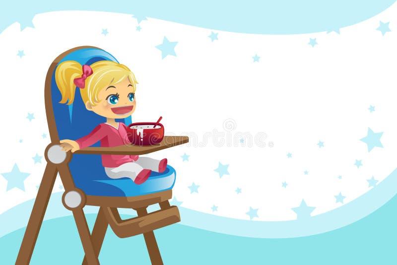 Kind, das im hohen Stuhl isst stock abbildung