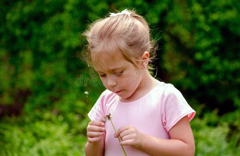 Kind, das mit einem Löwenzahn spielt lizenzfreies stockfoto