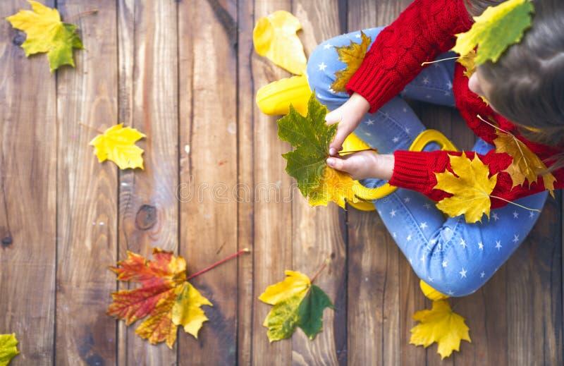 Kind, das mit Herbstlaub spielt lizenzfreie stockfotografie