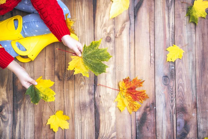 Kind, das mit Herbstlaub spielt lizenzfreie stockbilder