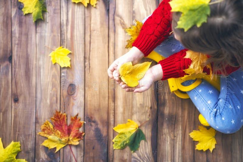 Kind, das mit Herbstlaub spielt stockbilder
