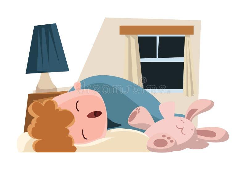 Kind, das mit seiner Häschenillustrationszeichentrickfilm-figur schläft lizenzfreie abbildung