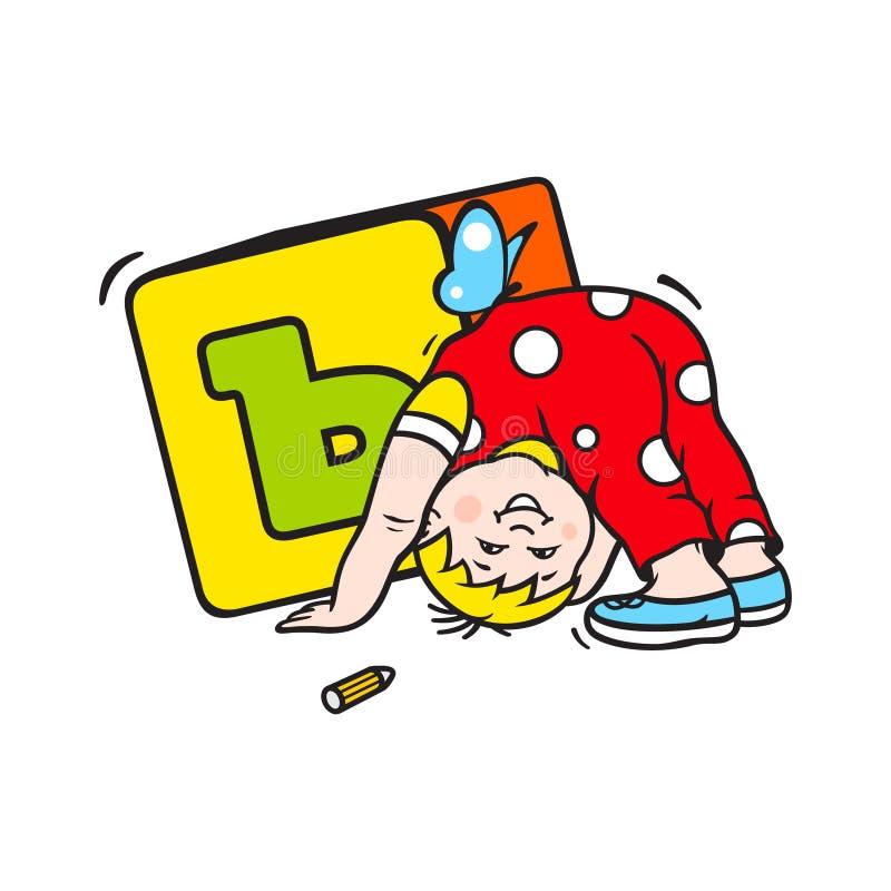 Kind, das mit Würfelzeichen spielt lizenzfreie abbildung