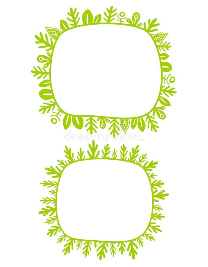 Kind, das nette Anlagen und Grasrahmen zeichnet Grüner Rahmen der Märchen, lokalisiert vektor abbildung