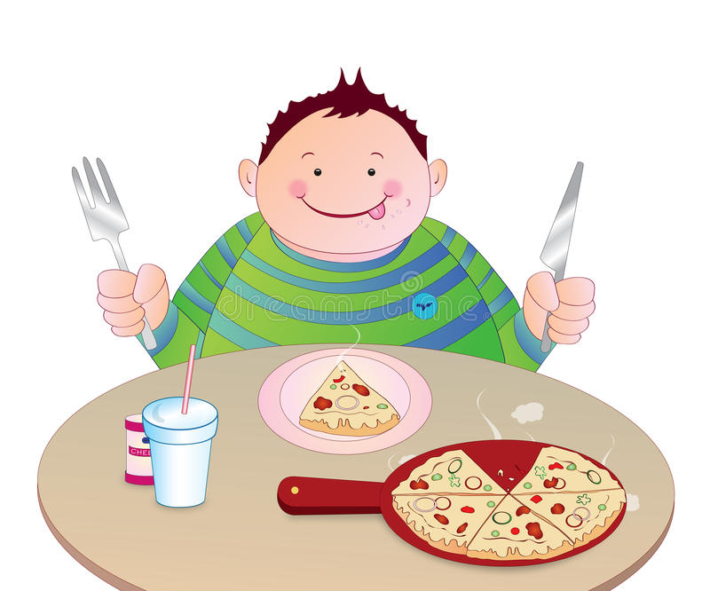 Kind, das Pizza isst lizenzfreie abbildung