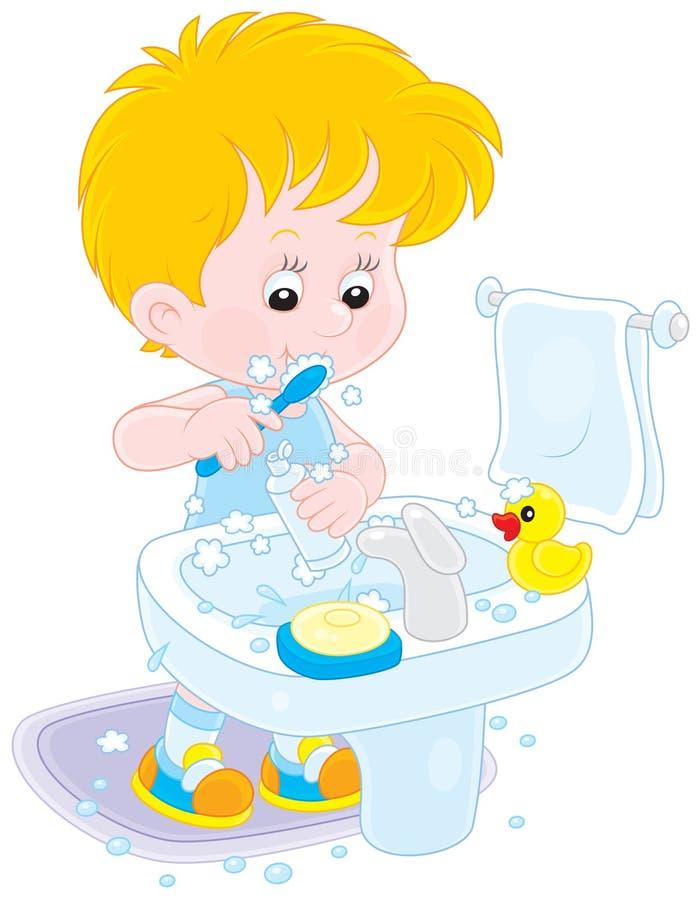 Kind, das seine Zähne putzt lizenzfreie abbildung