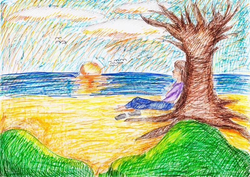 Kind, das unter bloßem Baum auf Strand am Abend sitzt lizenzfreie abbildung