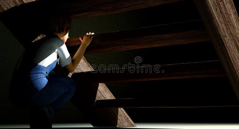 Kind, das unter Treppe sich versteckt lizenzfreie abbildung