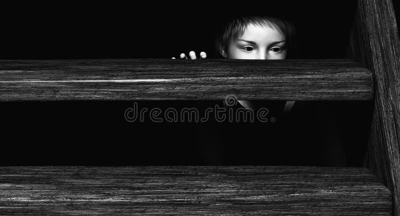 Kind, das unter Treppe sich versteckt vektor abbildung