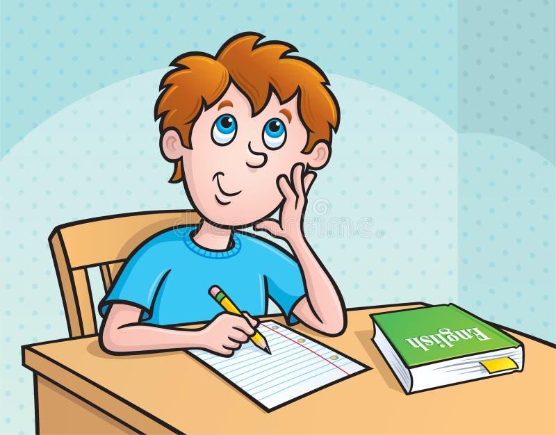 Kind, das was denkt zu schreiben lizenzfreie abbildung