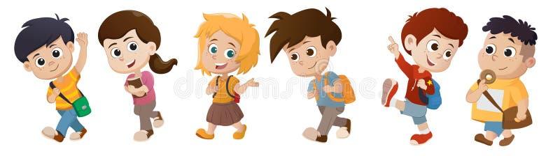 Kind, das zur Schule aufweckt Zurück zu Schule vektor abbildung