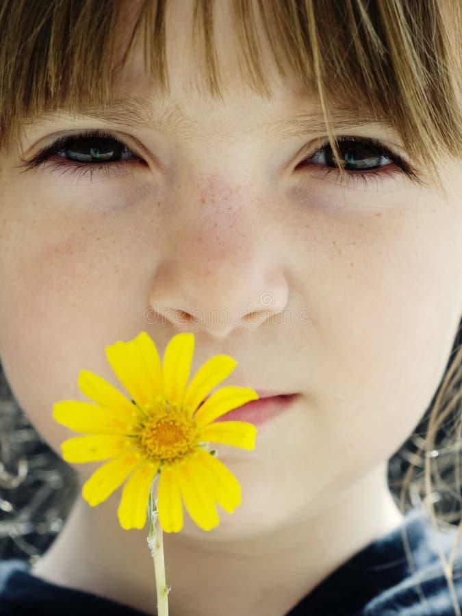 Kind dat een gevoelige wilde gele bloem houdt royalty-vrije stock afbeeldingen