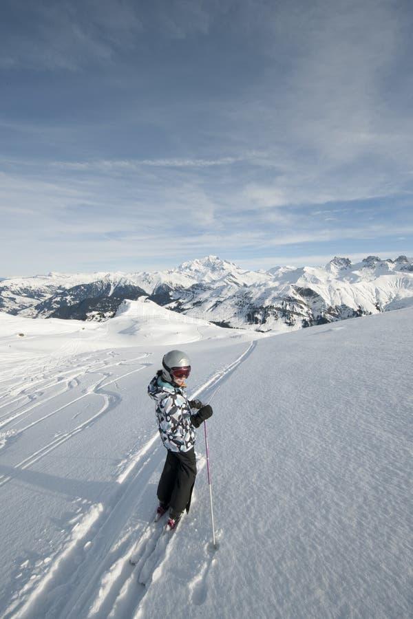 Kind dat, Franse Alpen skiô royalty-vrije stock foto's